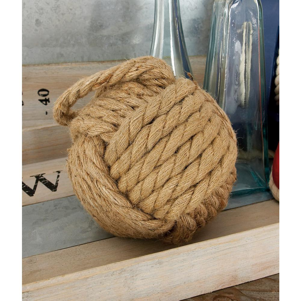 White And Brown Jute Rope Doorstop Balls (Set