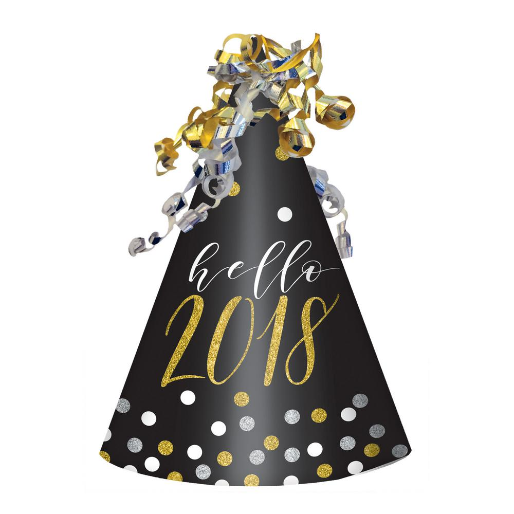 New Year's 9 in. Black, Silver, and Gold Cone Hat (6-Pack)