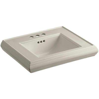 Memoirs 24 in. Ceramic Pedestal Sink Basin in Sandbar with Overflow Drain