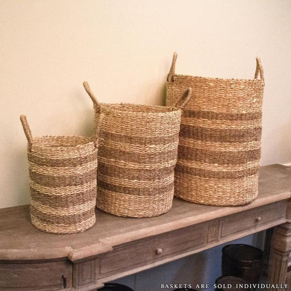 Cylindrical Handmade Woven Wicker Seasgrass Palm Leaf Wire Medium Basket with Stripes and Handles