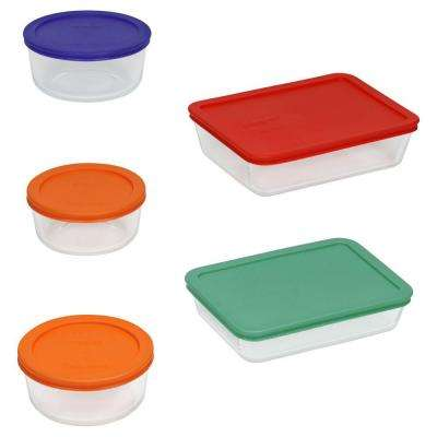 Simply Store 10-Piece Glass Storage Set with Assorted Colored Lids