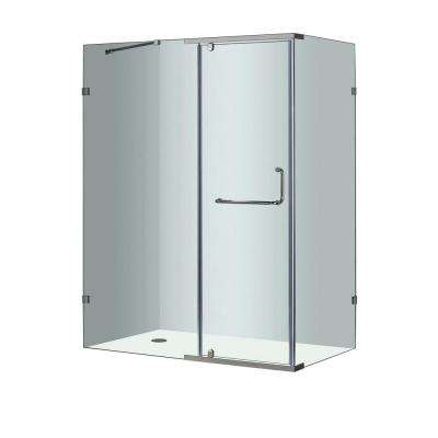 SEN975 60 in. x 35 in. x 75 in. Semi-Framed Shower Enclosure in Chrome with Clear Glass