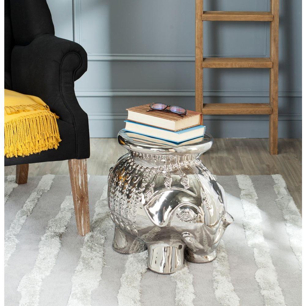 Silver Ceramic Elephant Patio Stool