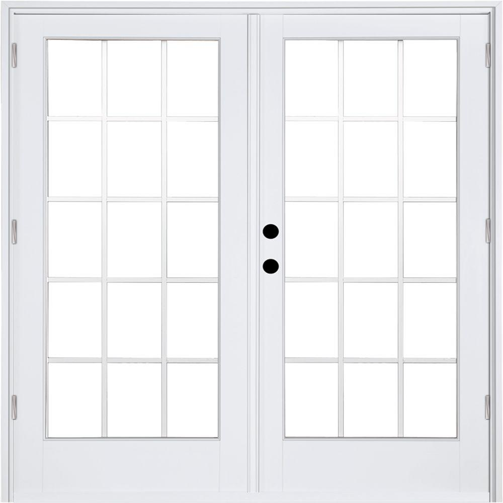 MP Doors 60 in. x 80 in. Fiberglass Smooth White Right-Hand Outswing Hinged Patio Door with 15-Lite GBG