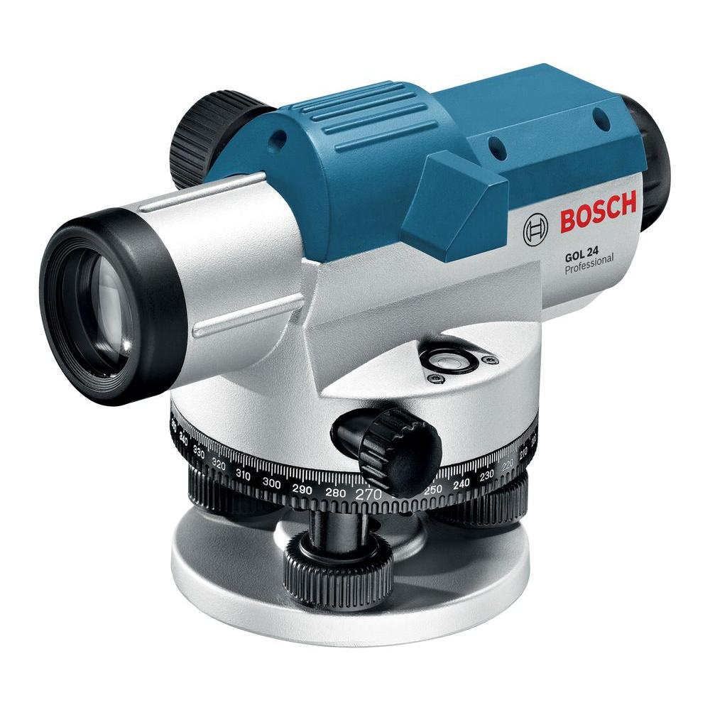 Bosch 11.75 in. Automatic Optical Level Kit with 24x Magnification Power Lens (3-Piece)