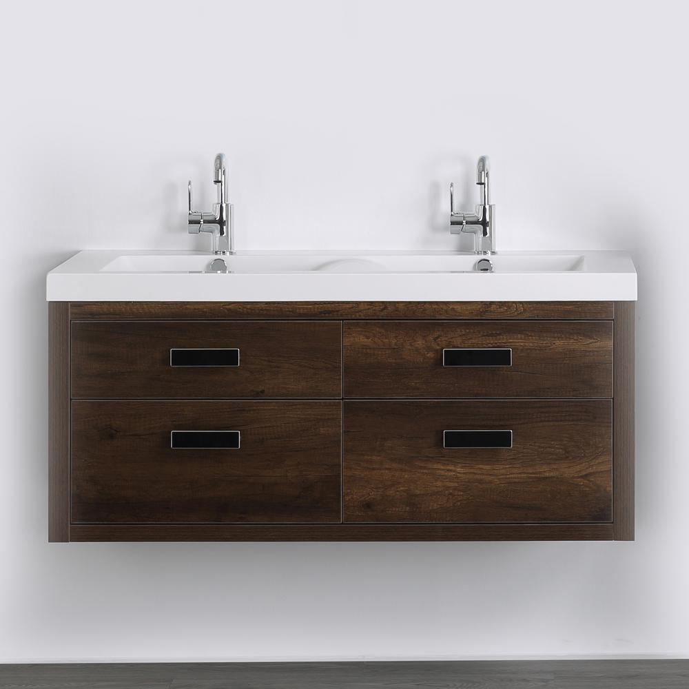 Streamline 47.2 in. W x 19.4 in. H Bath Vanity in Brown with Resin Vanity Top in White with White Basin
