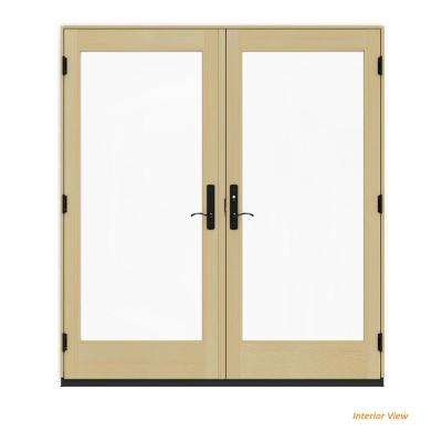 72 in. x 80 in. W-4500 Contemporary White Clad Wood Left-Hand Full Lite French Patio Door w/Lacquered Interior