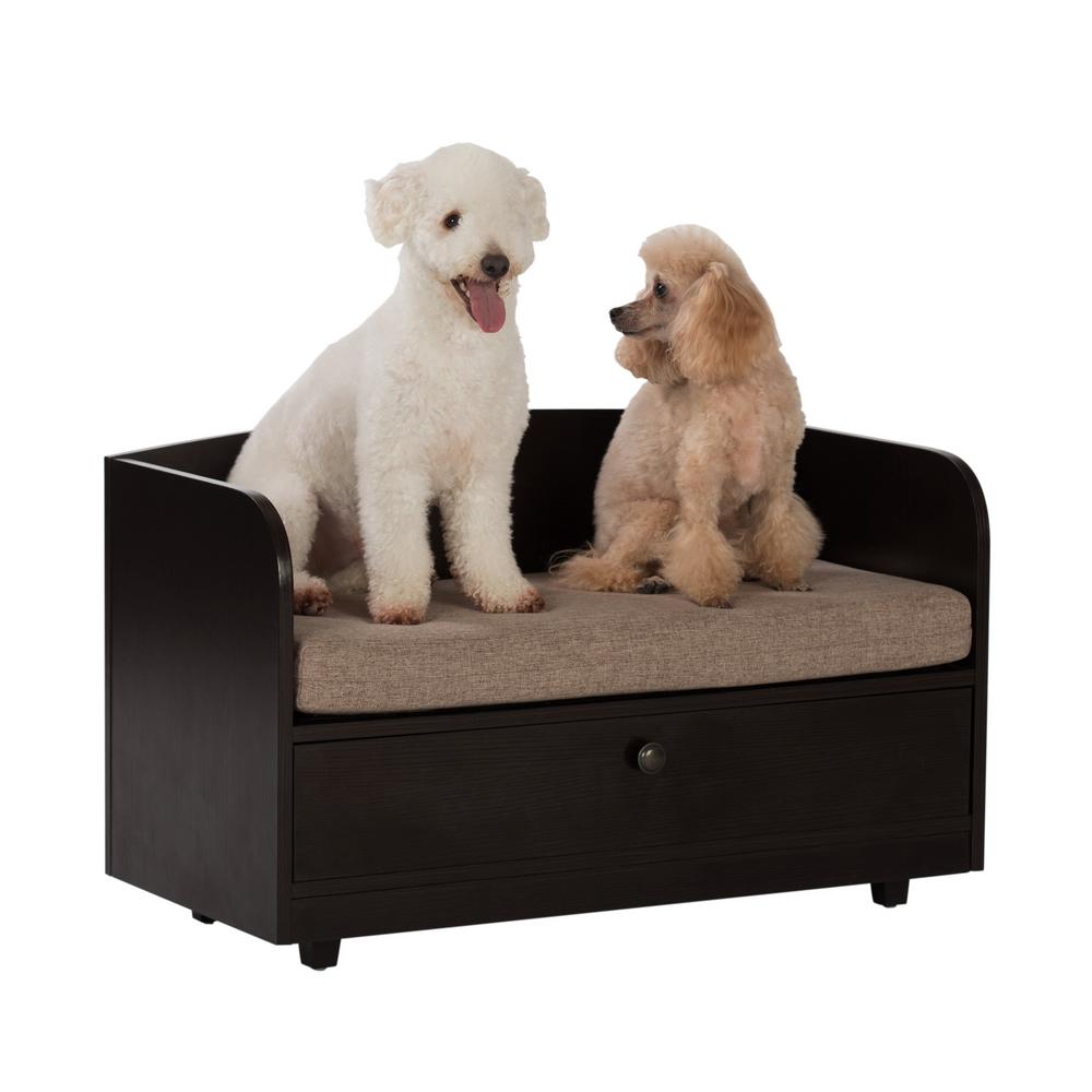 Paws & Purrs 31.5 in. W Pet Toy Storage Pull-Out Drawer with Sofa Bed,  Espresso Melamine Finish and Sand Brown Removable Cushion