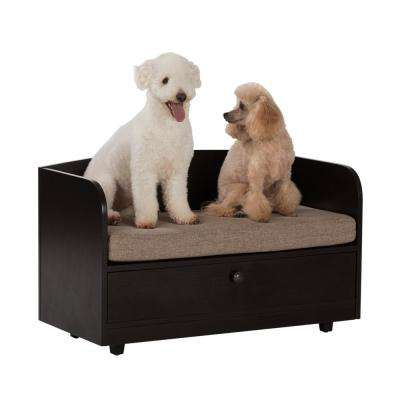 31.5 in. W Pet Toy Storage Pull-Out Drawer with Sofa Bed, Espresso Melamine Finish and Sand Brown Removable Cushion