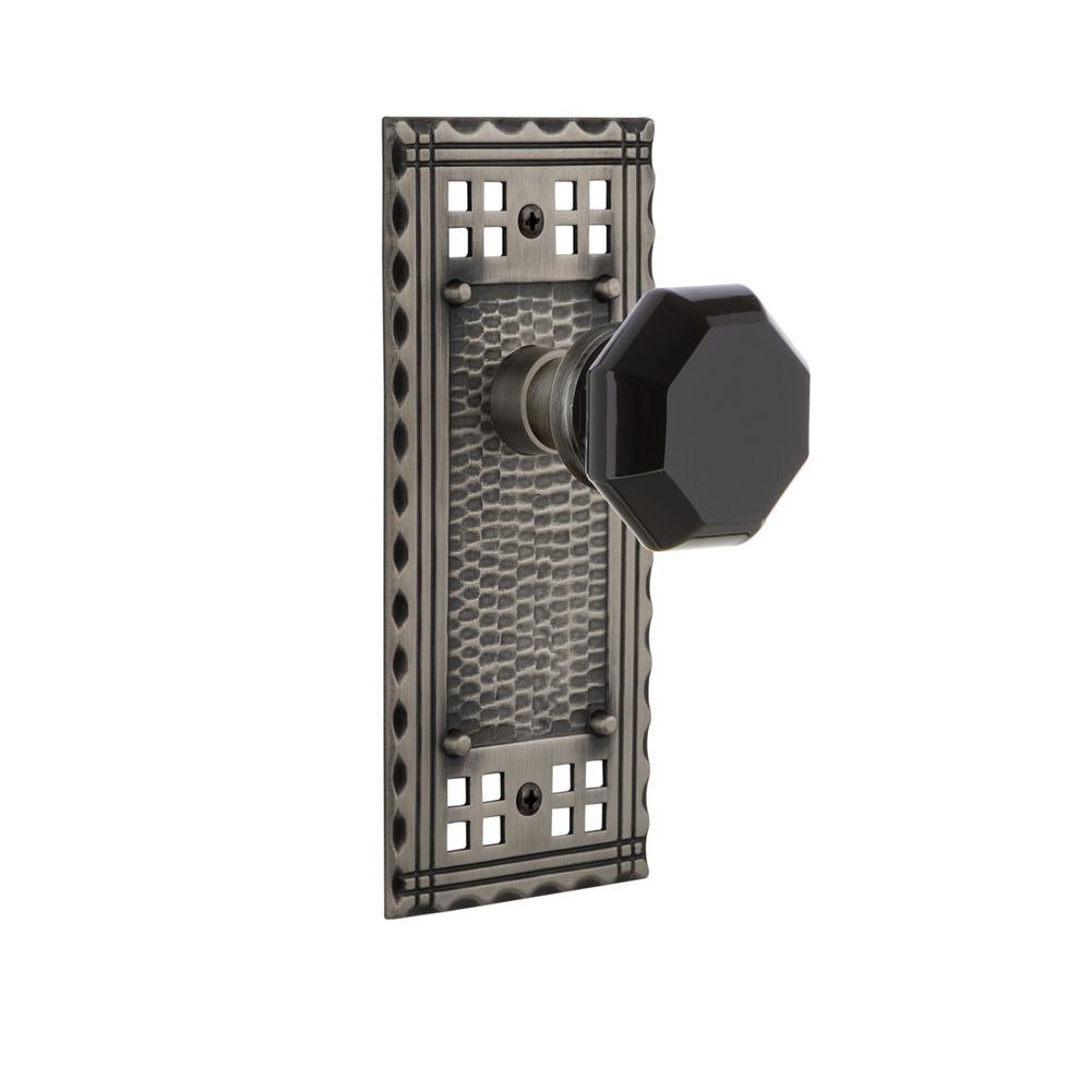 Craftsman Plate 2-3/4 in. Backset Antique Pewter Privacy Bed/Bath Waldorf Black Door Knob