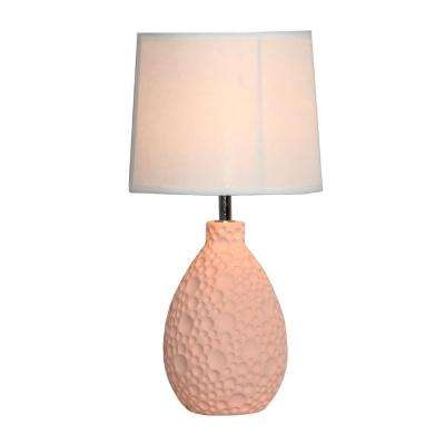 Pink Textured Stucco Ceramic Oval Table Lamp