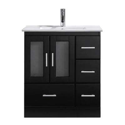 Zola 30 in. W Bath Vanity in Espresso with Ceramic Vanity Top in Slim White Ceramic with Square Basin and Faucet