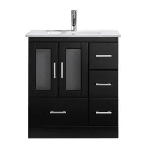 Virtu USA Zola 30 inch W x 18 inch D Vanity in Espresso with Ceramic Vanity Top in White with White Basin with Chrome... by Virtu USA