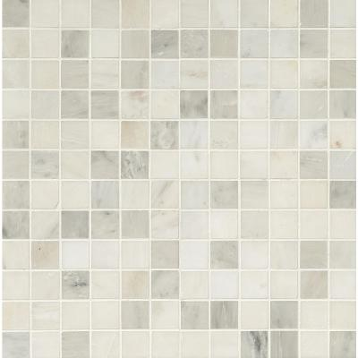 Greecian White 12 in. x 12 in. x 10 mm Polished Marble Mesh-Mounted Mosaic Tile (10 sq. ft. / case)