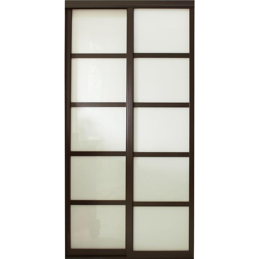 Contractors Wardrobe 60 in. x 96 in. Tranquility Glass Panels Back Painted White Interior Sliding Door with Espresso Wood Frame