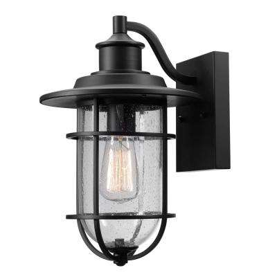Turner 1-Light Black and Seeded Glass Outdoor Wall Mount Sconce