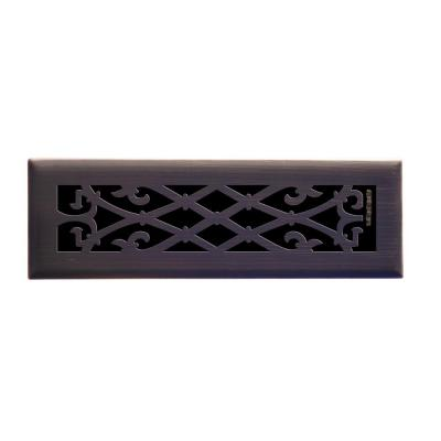 Elegant Scroll 2 in. x 10 in. Steel Floor Register in Oil Rubbed Bronze