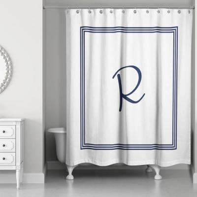 71 in. W x 74 in. L Navy Blue and White Letter R Monogrammed Fabric Shower Curtain