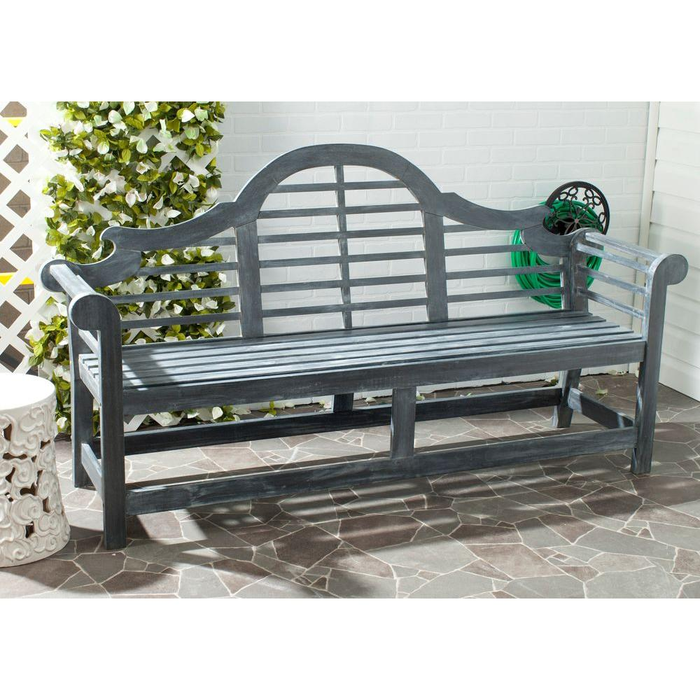 Wooden Benches Outdoor: Safavieh Khara Ash Gray Patio Bench-PAT6705A