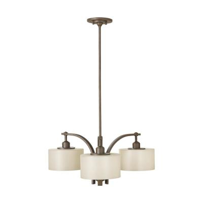 Sunset Drive 3-Light Corinthian Bronze Modern Chandelier with Striated Pearl Glass Shades