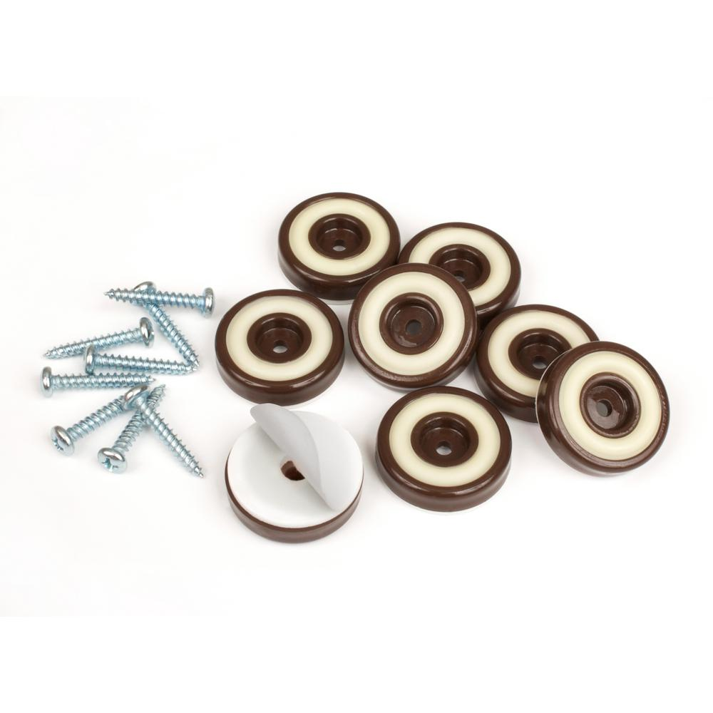 Round Chocolate Brown Furniture Feet Floor Protectors With