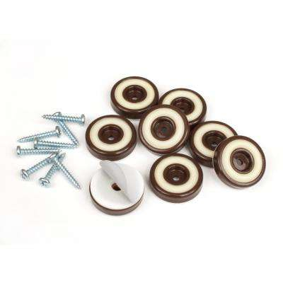 1-1/4 in. Round Chocolate Brown Furniture Feet Floor Protectors with Rubber Grip (Set of 8)