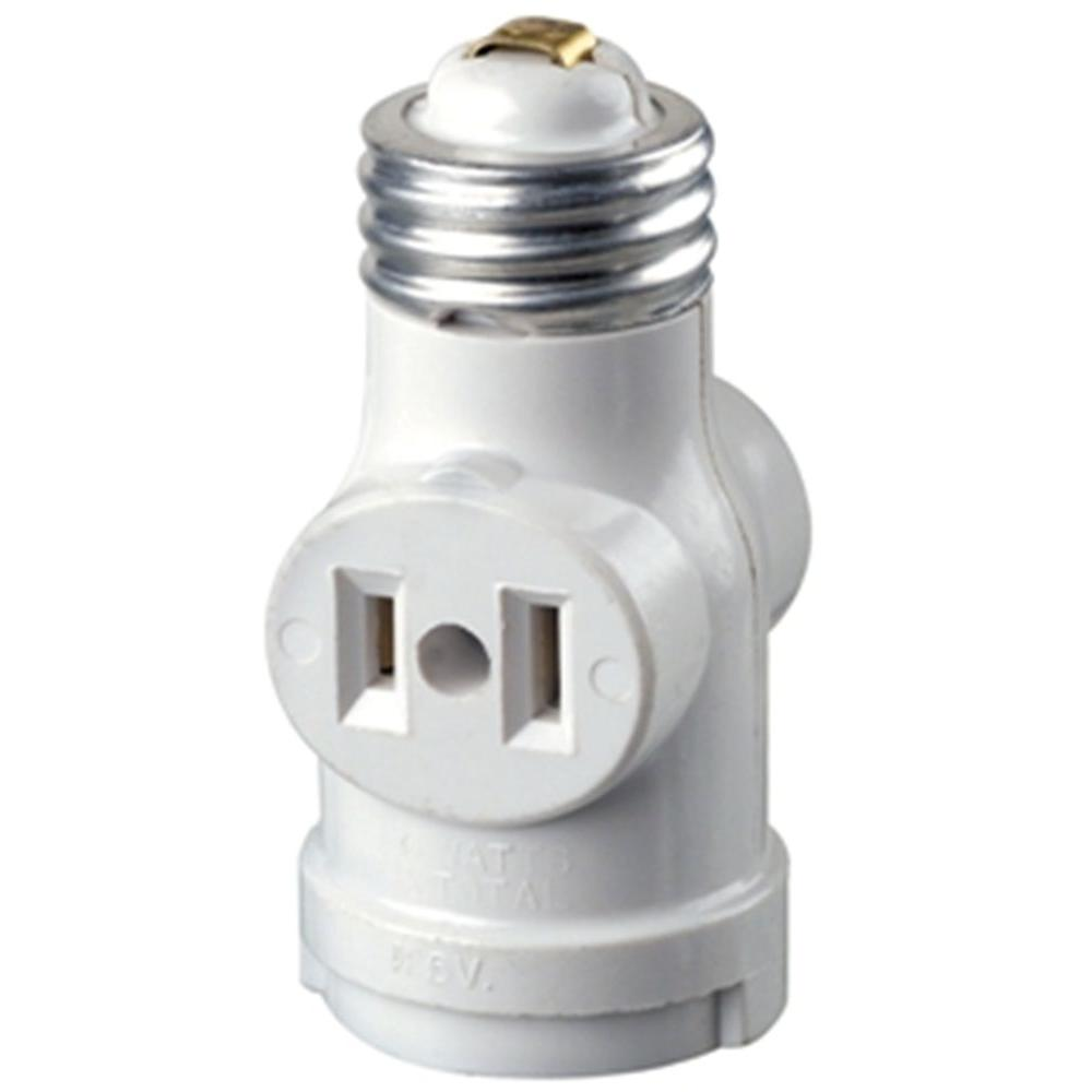 Leviton Socket With Outlets White R52 01403 00w The Home Depot Of One Lamp And 3 Pin Switches Plug Wiring 2 Outlet Pull Chain