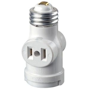 Leviton 2-Outlet White Socket with Pull Chain by Leviton