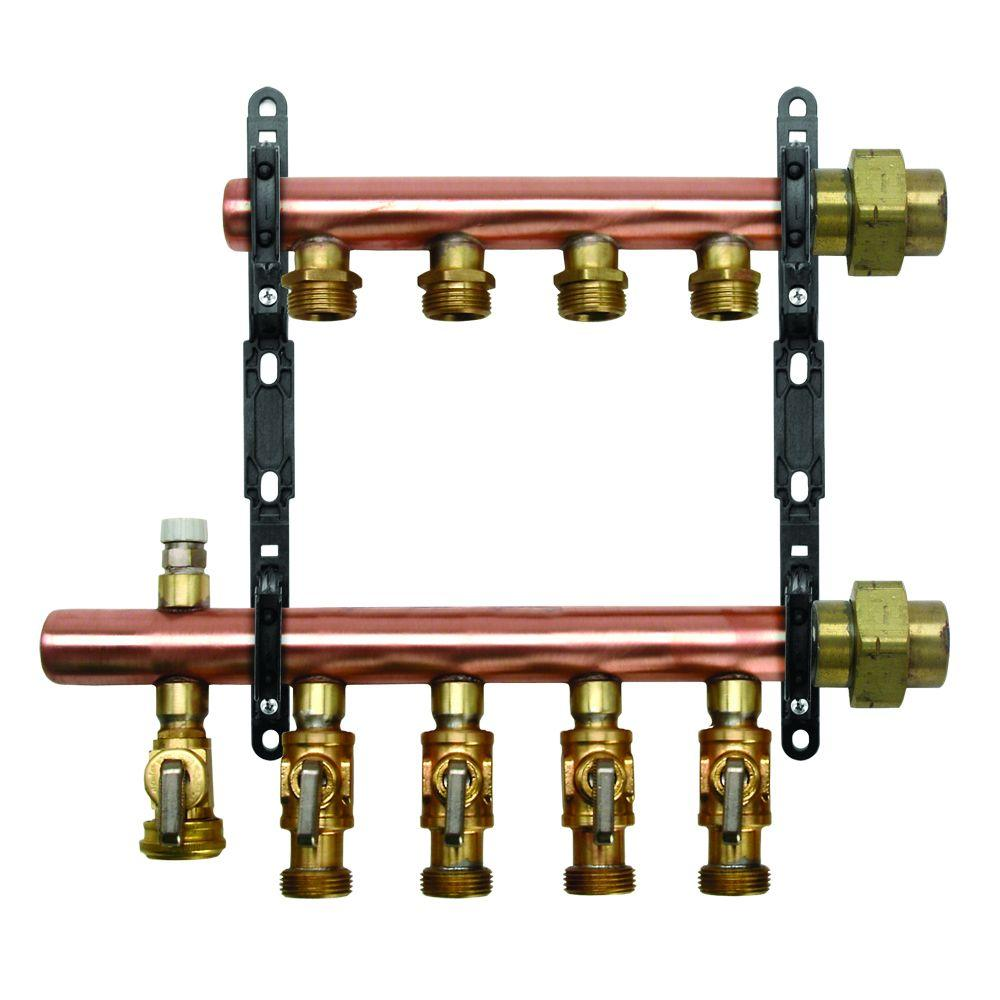 null 3/4 in. PEX-AL-PEX x 1-1/4 in. Trunk 5-Circuit Copper Compression Manifold with 10 Adapters