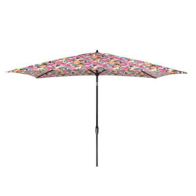 10 ft. x 6 ft. Aluminum Market Patio Umbrella in Vistamesa Black