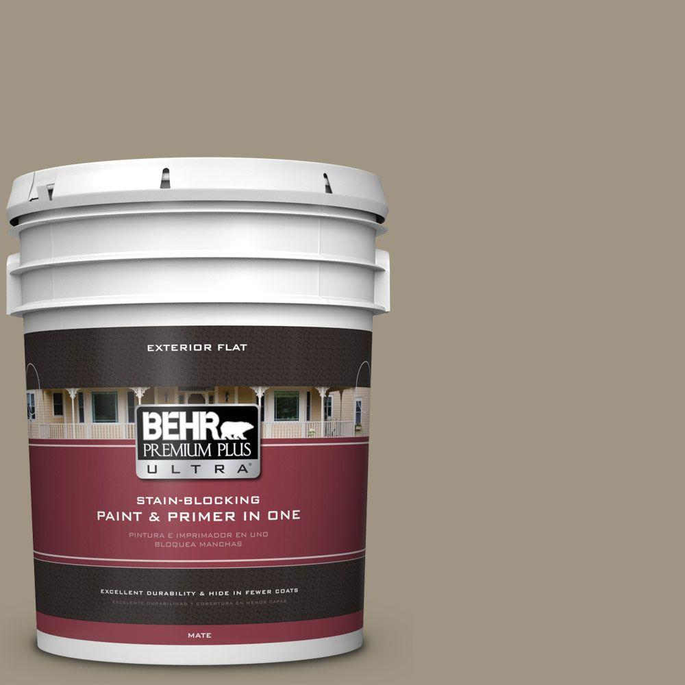 5-gal. #BNC-24 Shadow Taupe Flat Exterior Paint