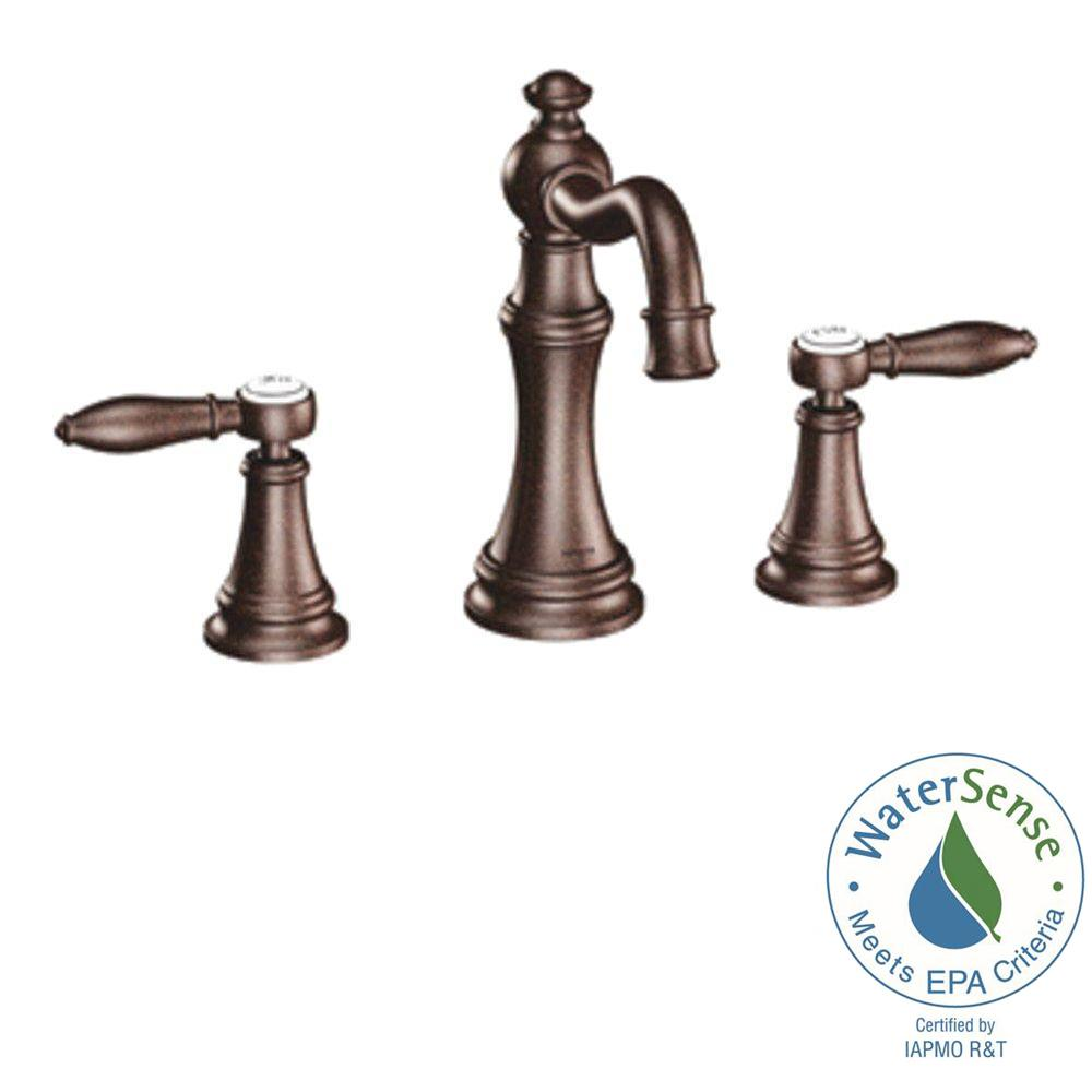 Moen Weymouth 8 In Widespread 2 Handle High Arc Bathroom Faucet