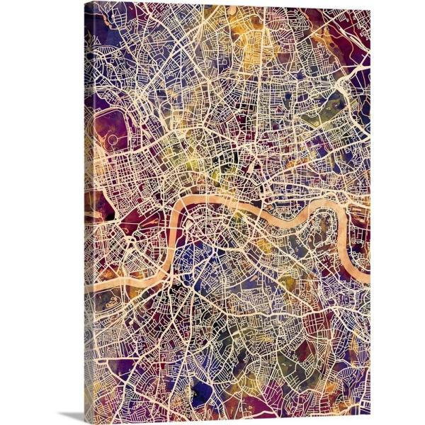 A Map Of London England.London England Street Map By Michael Tompsett Canvas Wall Art