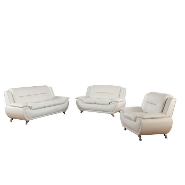 Star Home Living 3-Piece Swan White Leather Sofa Set F4604-3PC - The ...