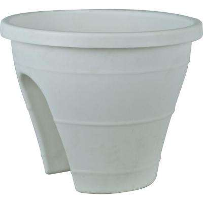 Mela 11-1/2 in. Round White Plastic Rail Planter