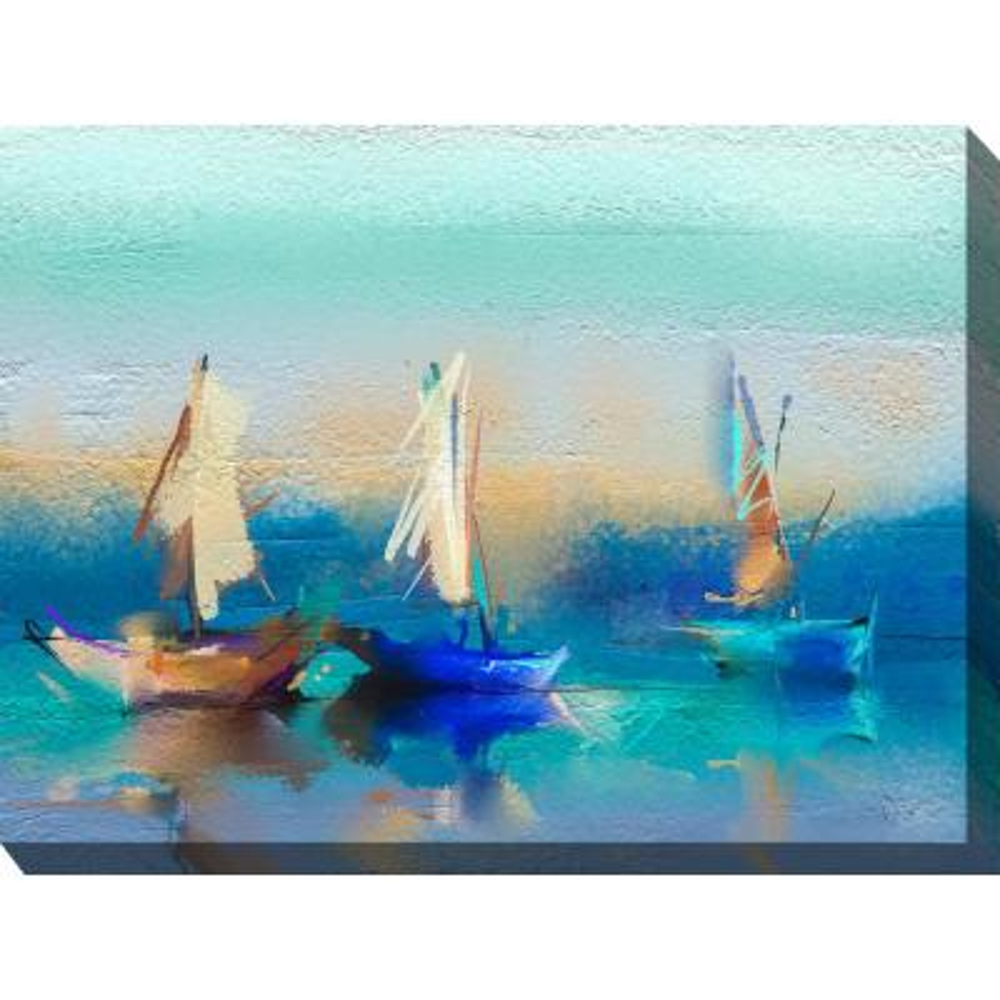 "40 in. x 30 in. ""Cerulean Sea"" Outdoor Canvas Wall Art"
