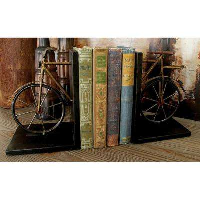 Bicycle Sculpture Brown and Black Metal Bookend