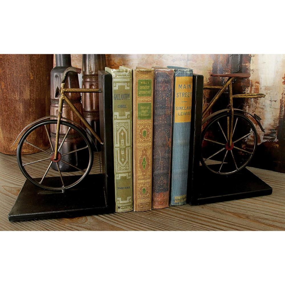 Benzara Bicycle Sculpture Brown and Black Metal Bookend BM05777