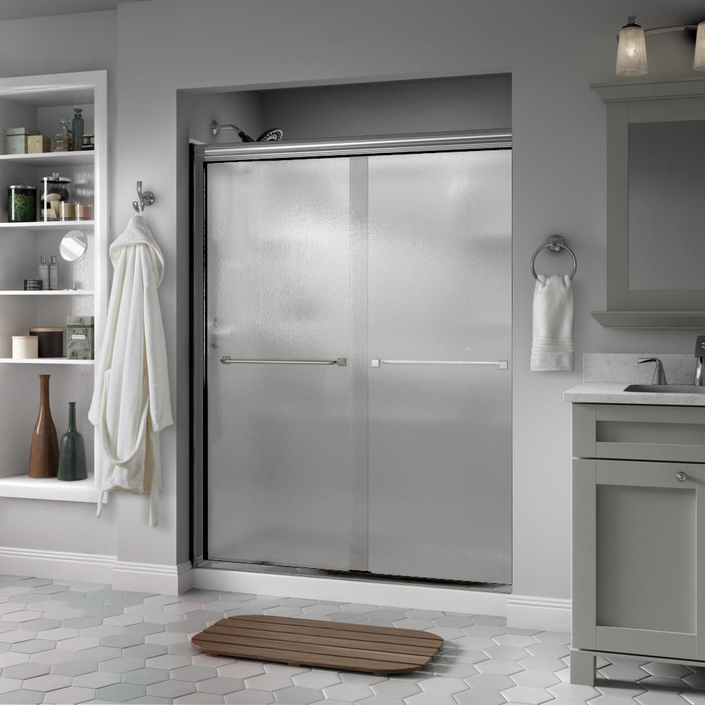 Delta Delta Everly 60 in. x 70 in. Semi-Frameless Traditional Sliding Shower Door in Chrome with Rain Glass
