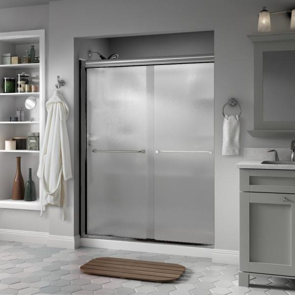 Everly 60 in. x 70 in. Semi-Frameless Traditional Sliding Shower Door in Chrome with Rain Glass
