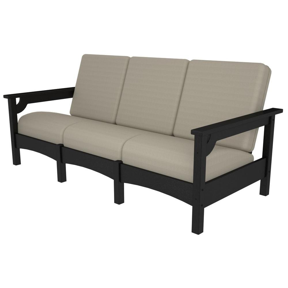 Club Black Patio Sofa with Sunbrella Bird's Eye Cushions