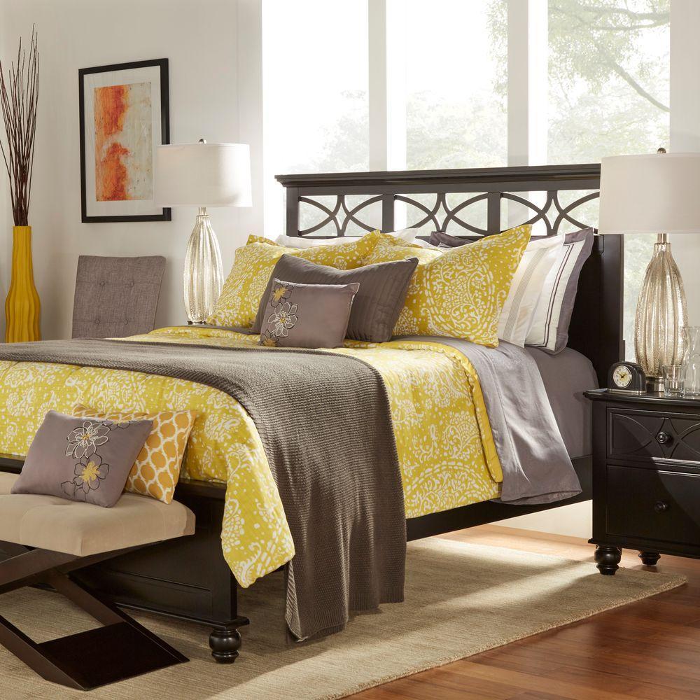 HomeSullivan La Rochelle 5-Piece Queen-Size Bed, Nightstand, Dresser, Mirror and Chest Set in Black