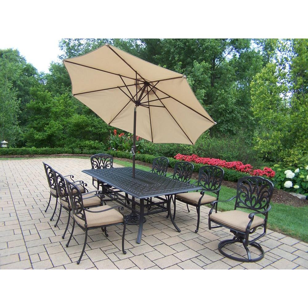 Oakland Living Cast Aluminum 11 Piece Rectangular Patio Dining Set With  SpunPoly Beige Cushions And