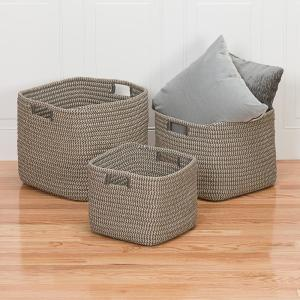 Marvelous Carter Grey 14 In X 14 In X 12 In Square Polypropylene Braided Basket Pdpeps Interior Chair Design Pdpepsorg