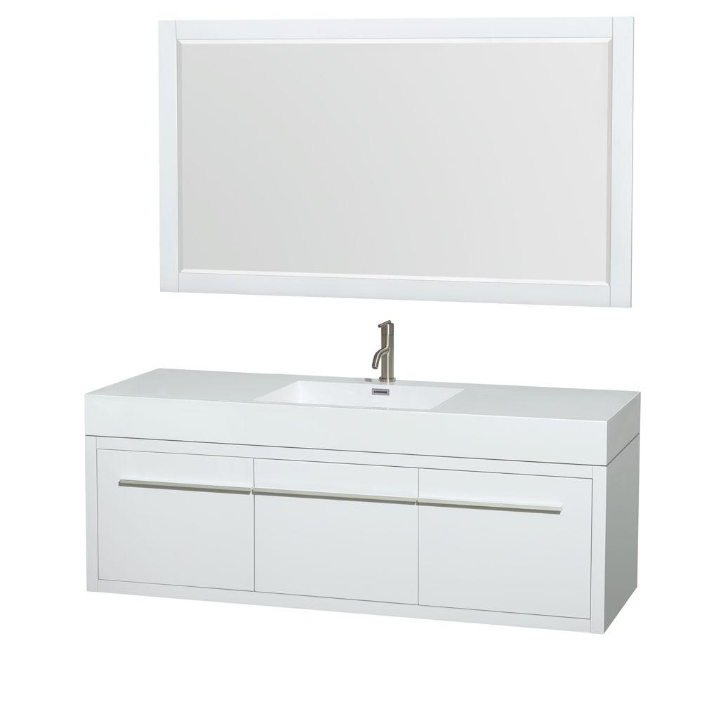 Vanity In Glossy White With Acrylic Resin Vanity Top