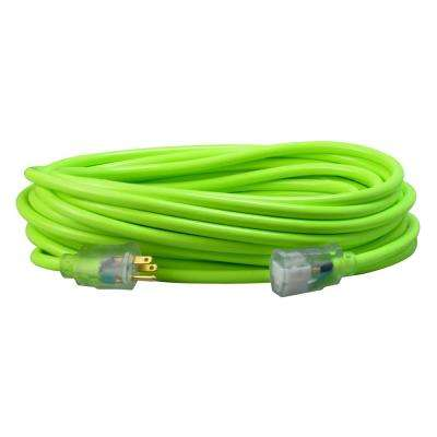 25 ft. 12/3 SJTW Outdoor Heavy-Duty Neon Green Extension Cord with Power Light Plug