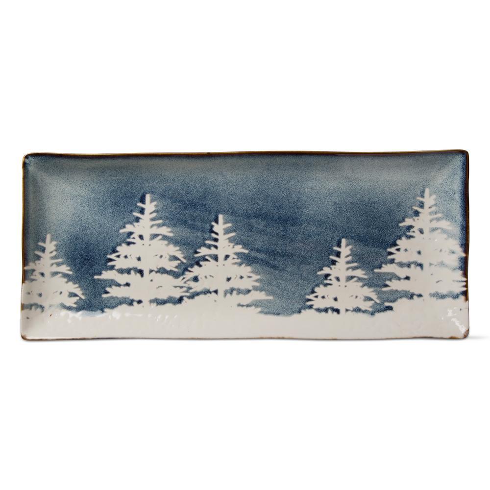 Forest Reactive Glaze 1-Piece Midnight Blue Stoneware Rectangular Platter