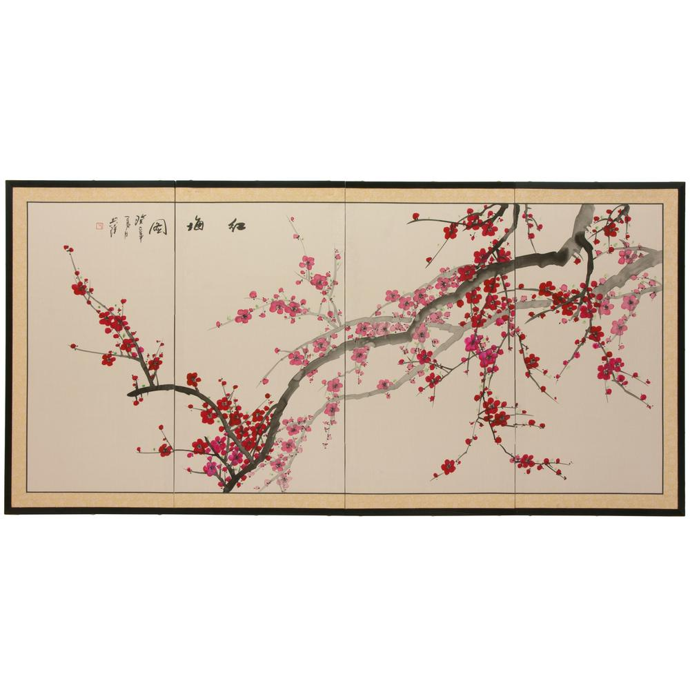 36 in. x 72 in.  Plum Blossom Chinese Painting  Wall Art  sc 1 st  Home Depot & 36 in. x 72 in.