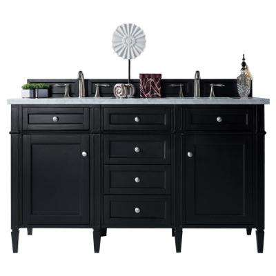 Brittany 60 in. W Double Vanity in Black Onyx with Marble Vanity Top in Carrara White with White Basin