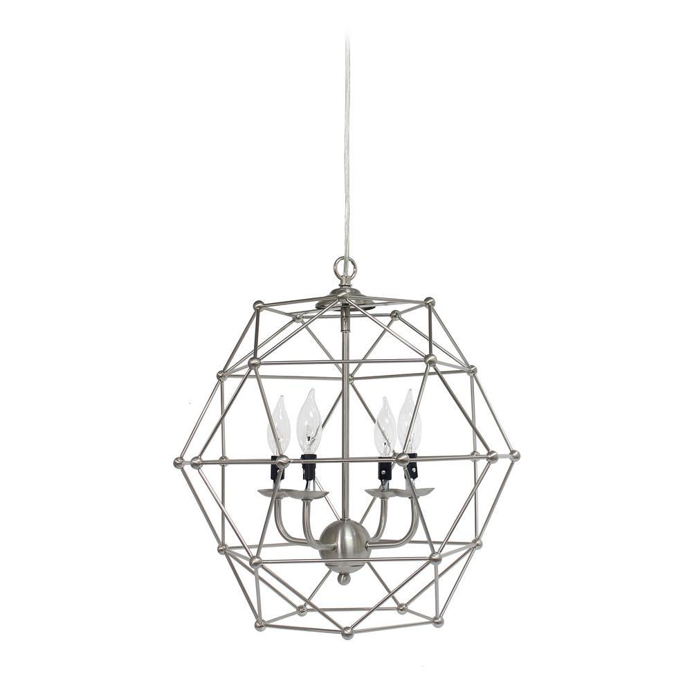 18 in. 4-Light Brushed Nickel Hexagon Industrial Rustic Pendant Light